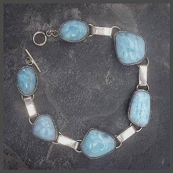 Chunky 6 Stone Sterling Silver Larimar Bracelet